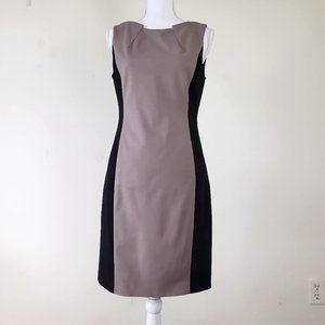 Tahari Color Block Sheath Dress Brown Black Size 4